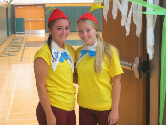 Seniors Jeslyn Files and Cassidy Fyffe dressed up as Tweedle Dee and Dum for character day.