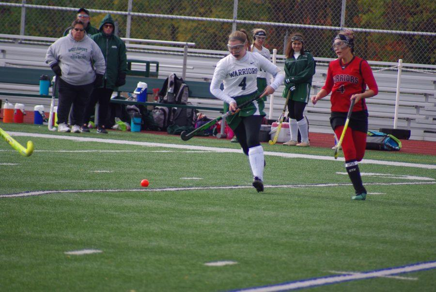 Senior Kayla Stock brings the ball up-field on Sunday's sectional game against Morrisville-Eaton.