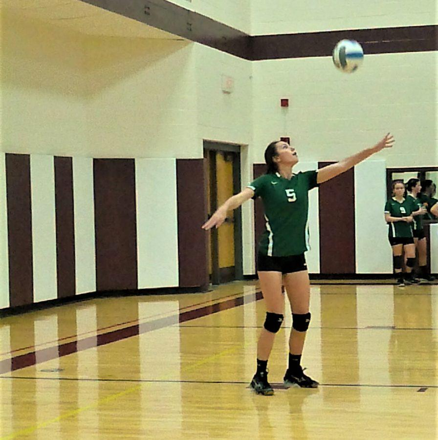 Makayla Adams gets ready to serve for the Weedsport Warriors.