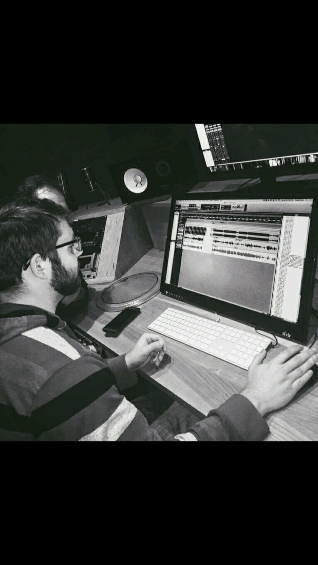 Austin Bates works in the studio.