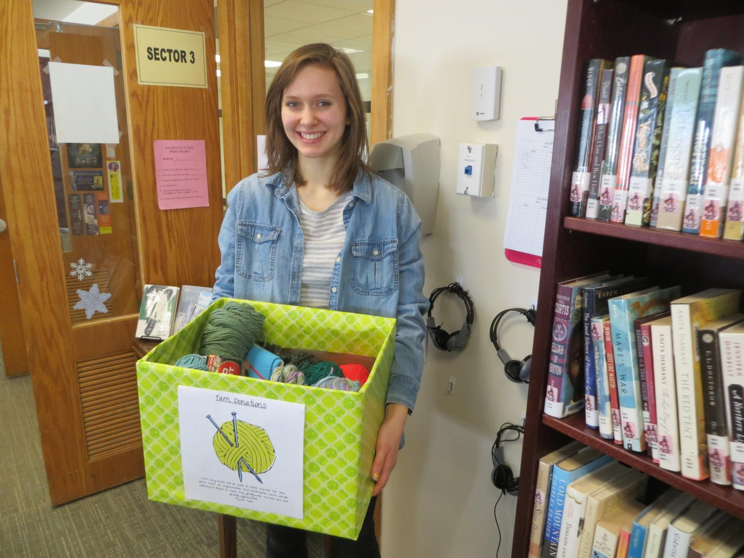 Amanda Brown has a box in the library for yarn donations. Read the story to find out what she will do with the yarn.