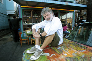 Weedsport Alumnus Jack Leonardi in front of his popular New Orleans restaurant, Jaques-Imo