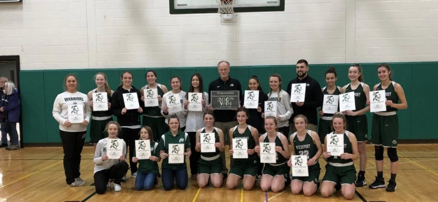 The+Weedsport+Varsity+Girls+Basketball+Team+recently+celebrated+Coach+Chris+Vargason%27s+200th+victory.