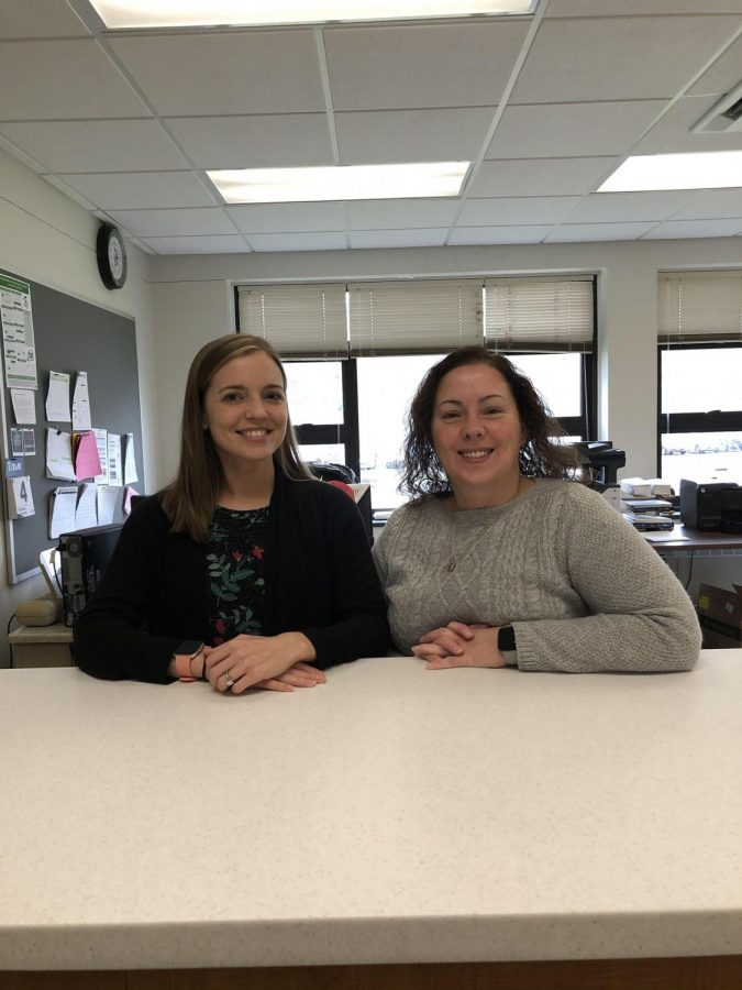 Mrs. Nicklaw (left) and Mrs. Sheffield are ready to help students and staff in the high school office.