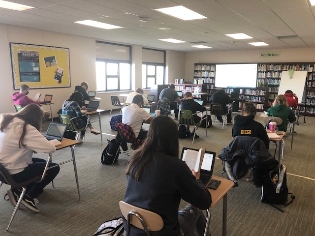 The high school library has been re-configured this year as a large group classroom.