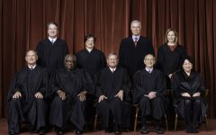 The Roberts Court, April 23, 2021   Seated from left to right: Justices Samuel A. Alito, Jr. and Clarence Thomas, Chief Justice John G. Roberts, Jr., and Justices Stephen G. Breyer and Sonia Sotomayor   Standing from left to right: Justices Brett M. Kavanaugh, Elena Kagan, Neil M. Gorsuch, and Amy Coney Barrett.   Photograph by Fred Schilling, Collection of the Supreme Court of the United States